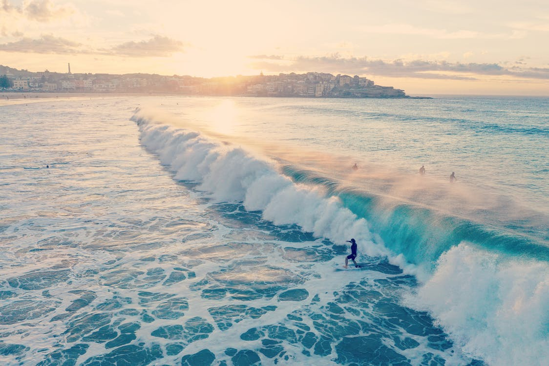 Beautiful surfing waves